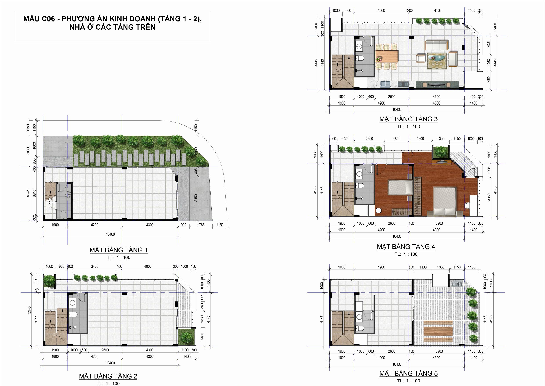Thiết kế mặt bằng Khu Dân Cư D-Village - Phương án kinh doanh (tầng 1 - 2)